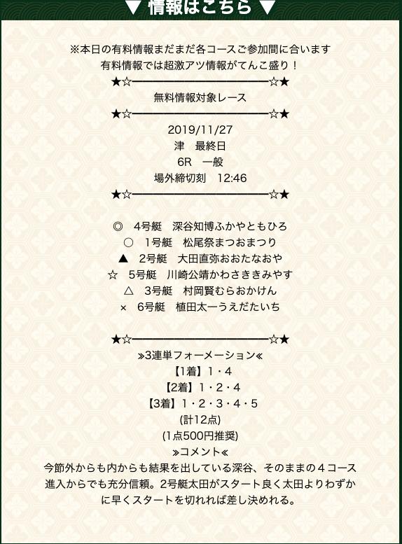 万舟祭の2019/11/27の予想の買い目