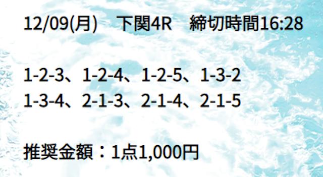 2019年12月9日の競艇道の無料予想